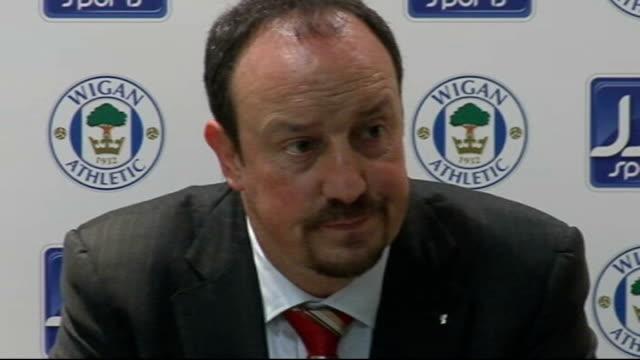 Wigan Athletic v Liverpool Benitez press conference ENGLAND Wigan JJB Stadium INT Rafa Benitez press conference SOT Have lost two points / Were much...