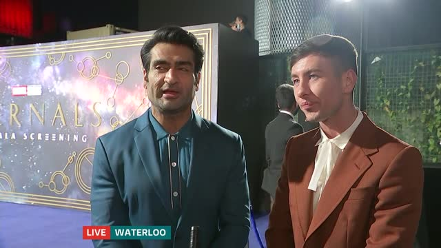 premier of the new marvel film 'eternals'; england: london: gir: int martin stew from bfi - waterloo 2-way live interview sot stew introduces kumail... - itv london tonight stock videos & royalty-free footage
