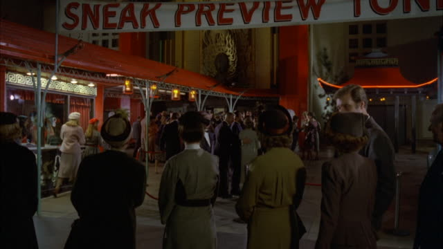 ms premier or preview crowd standing outside grauman chinese theater and large sign hanging above - 1980 stock videos and b-roll footage