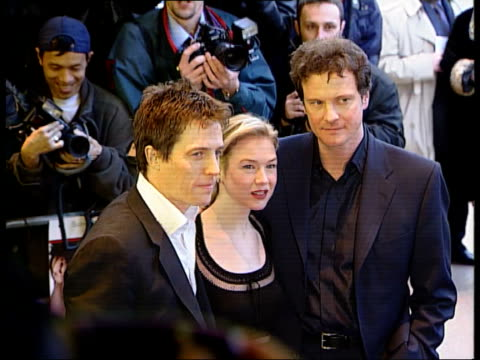 premiere of bridget jone's diary itn london leicester square hugh grant renee zellweger and colin firth posing for photo call at premiere of film... - renée zellweger stock videos and b-roll footage