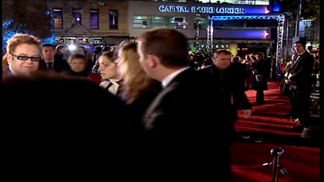 Premiere of 'Casino Royale' Celebrities along on red carpet including Elton John Sharon Osbourne Louis Walsh and David Furnish / Elton John speaking...