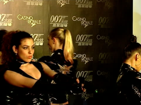 premiere of casino royale takes place in beijing with new bond daniel craig in attendance china beijing int four dancers scantily clad in pvc and... - pvc stock videos and b-roll footage