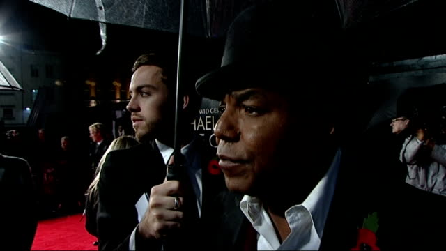 """premiere of documentary """"michael jackson: the life of an icon""""; tito jackson interview sot - happy so see the turnout / it's a brilliant film,... - the osmonds stock videos & royalty-free footage"""