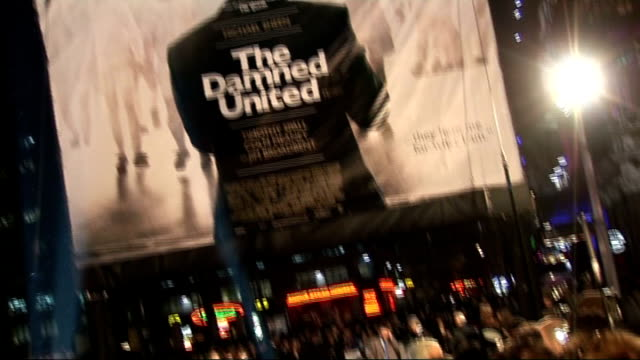 premiere of film 'the damned united' red carpet arrivals and interviews michael sheen conducting interviews with press large poster outside cinema... - michael sheen stock-videos und b-roll-filmmaterial