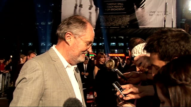 Premiere of film 'The Damned United' red carpet arrivals and interviews Jim Broadbent signing autographs Jim Broadbent interview SOT on filming in...