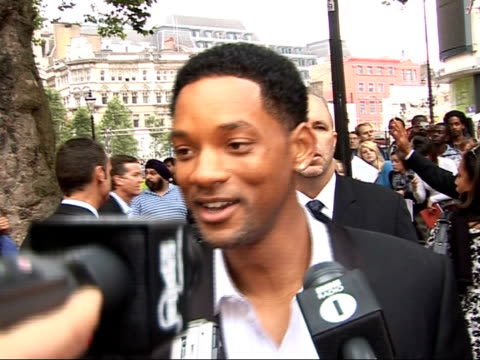 Premiere of 'Hancock' film Arrivals / interviews Will Smith interview SOT On who he'd spy on if invisible what makes him grumpy