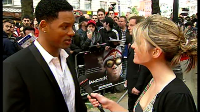 Premiere of 'Hancock' film Will Smith interview SOT On originality of the script / On tight suits he wears in film / Relates story of homeless woman...