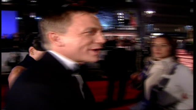 Premiere of new James Bond film 'Casino Royale' Daniel Craig speaking to press SOT On feelings about premiere/ I'll get used to it/ I just put a suit...