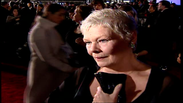 Premiere of new James Bond film 'Casino Royale' Judi Dench speaking to press SOT So English so typically English/ The whole mystique of Bond is...