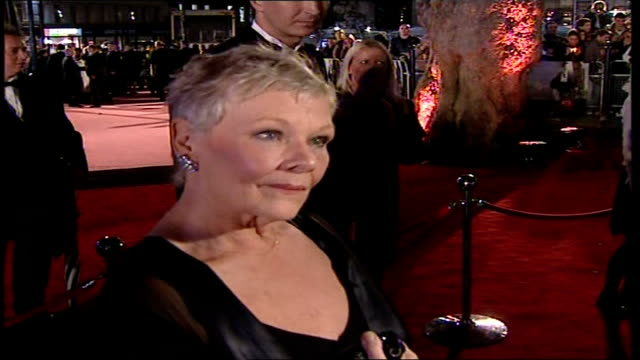 Premiere of new James Bond film 'Casino Royale' Judi Dench speaking to press SOT On premiere/ On Craig in roleMore of Dench speaking to press / On...