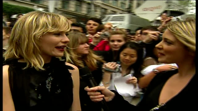 premiere of third 'spiderman' film kirsten dunst interview sot on possibility of another sequel on relationship with tobey maguire and sam raimi on... - tobey maguire stock-videos und b-roll-filmmaterial