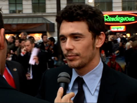 Premiere of third 'Spiderman' film Red carpet interviews James Franco speaking to press Franco speaking to press SOT On his character's struggles /...