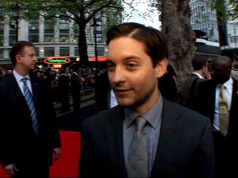 premiere of third 'spiderman' film red carpet interviews maguire speaking to press maguire speaking to press sot tobey maguire interview sot talks... - tobey maguire stock videos and b-roll footage