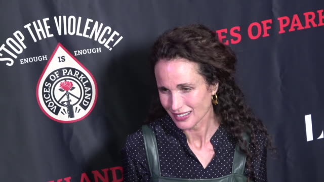 """premiere of """"voices of parkland"""" at theatre at the ace hotel on february 12, 2020 in los angeles, california. - andie macdowell stock videos & royalty-free footage"""