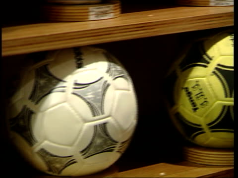 premiership matches; gv display of adidas footballs adidas football boot - adidas stock videos & royalty-free footage