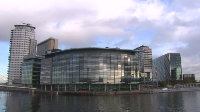 bbc premises at media city, salford quays available in hd. - bbc stock videos and b-roll footage