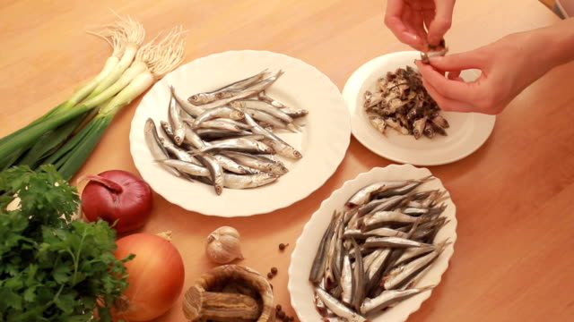 preparation of anchovies - preparing food stock videos & royalty-free footage