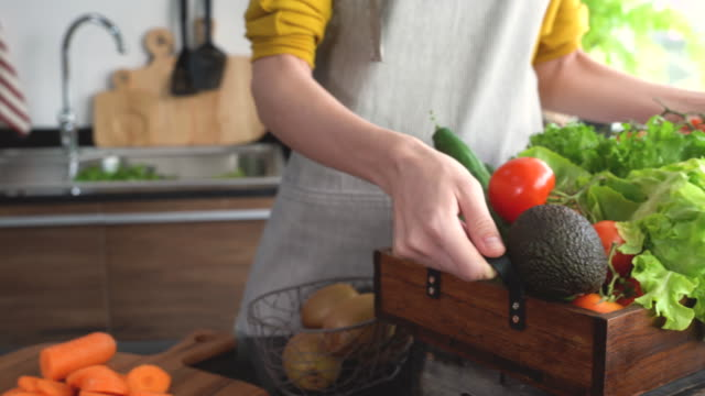 preparation of vegetables for the salad - kitchenware department stock videos and b-roll footage