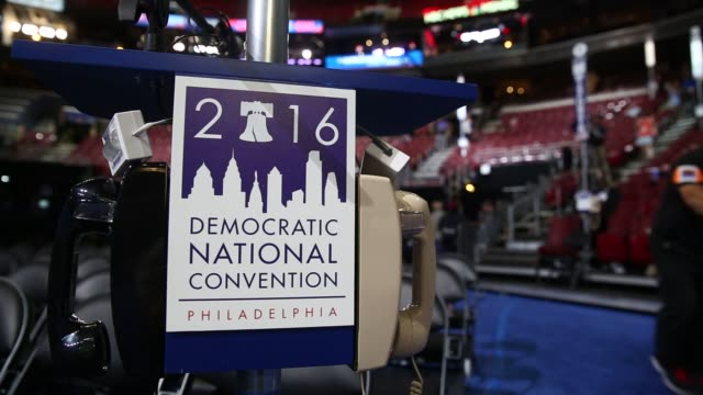 Preparations are made ahead of the Democratic National Convention in Philadelphia Pennsylvania US on Sunday July 24 2016 Shots view of seating area...