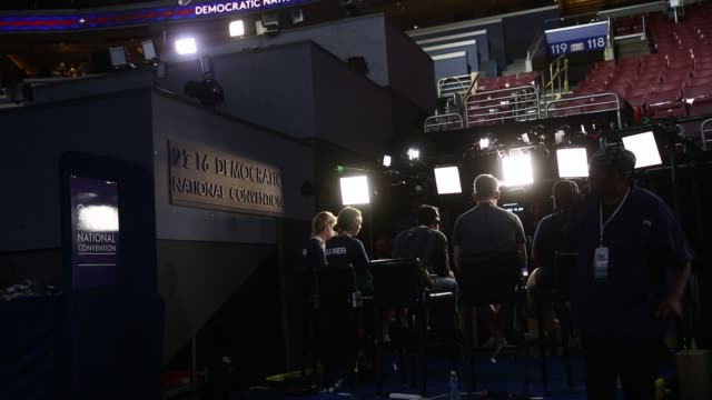 Preparations are made ahead of the Democratic National Convention in Philadelphia Pennsylvania US on Sunday July 24 2016 Shots view of directors and...