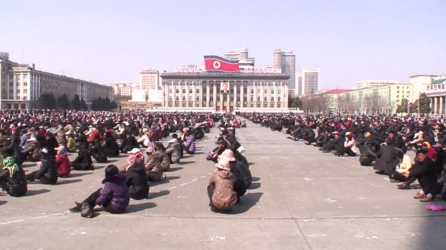 preparations are under way in pyongyang for the unprecedented anniversary celebration on april 15 that will mark the centenary of the birth of north... - 100th anniversary stock videos & royalty-free footage