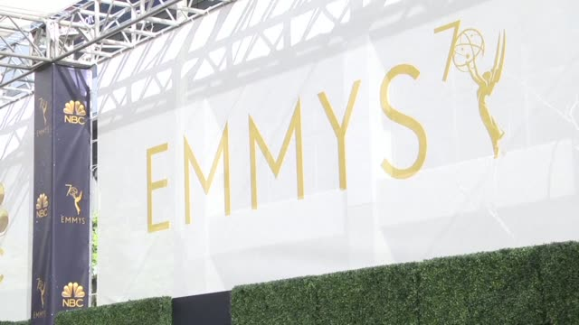 vídeos de stock, filmes e b-roll de preparations are underway in los angeles california before hollywood's a listers arrive on the red carpet for the 70th emmy awards which honor the... - 70th annual primetime emmy awards
