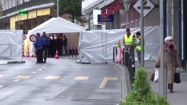 preparations continue in the swiss town of montreux on the eve of the geneva peace conference ii on syria which starts on wednesday clean montreux... - montreux stock videos and b-roll footage