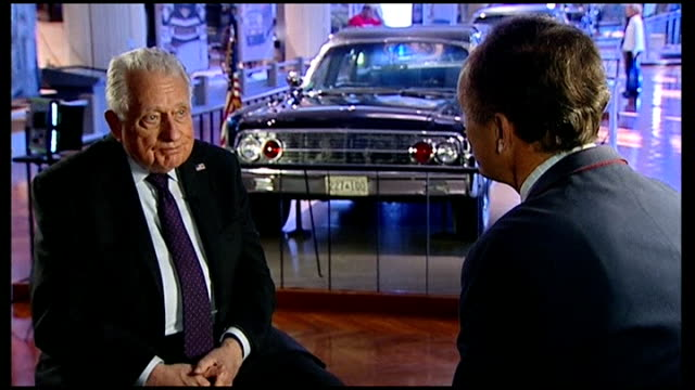 preparations for 50th anniversary of assassination of president kennedy hill interview sot clint hill beside kennedy car in museum with interview... - hill stock videos & royalty-free footage