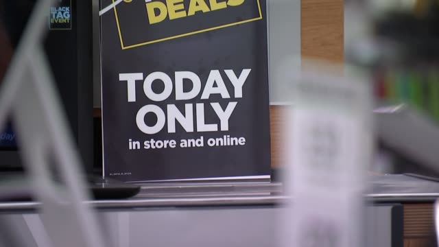 preparations for black friday shopping: currys pc world; england: london: int **music heard sot** currys pc world store with black friday sale... - cloud computing stock videos & royalty-free footage