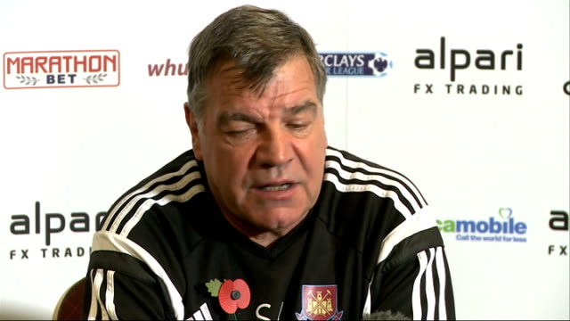 preparations for premiership matches; england: london: int sam allardyce press conference sot - sam west stock videos & royalty-free footage