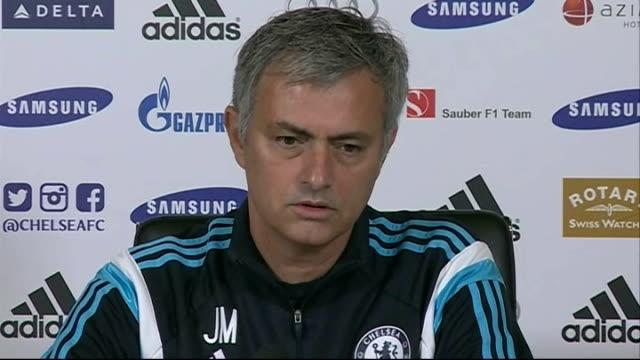 preparations for premiership matches england surrey cobham int jose mourinho press conference sot - コブハム点の映像素材/bロール
