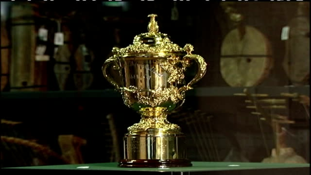 preparations for rugby world cup final; musee du quai branly: int webb ellis cup trophy in glass case - trophy stock videos & royalty-free footage
