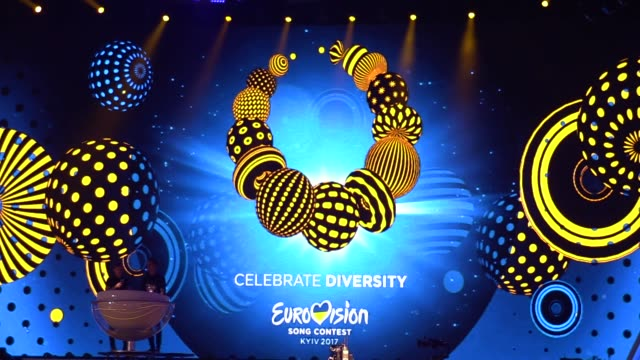 preparations for the eurovision song contest inside the international exhibition center in kiev ukraine 28 april 2017 the eurovision song contest... - ukraine stock-videos und b-roll-filmmaterial