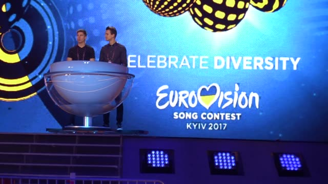 preparations for the eurovision song contest inside the international exhibition center in kiev, ukraine, 28 april, 2017. the eurovision song contest... - eurovision song contest stock videos & royalty-free footage