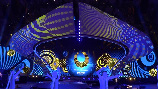 preparations for the eurovision song contest inside the international exhibition center in kiev ukraine 28 april 2017 the eurovision song contest... - eurovision song contest stock videos & royalty-free footage