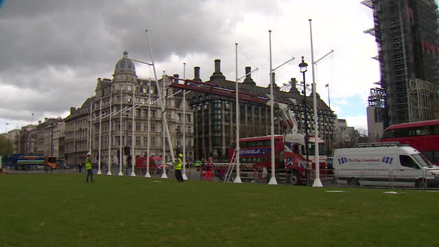 preparations outside houses of parliament for the queen's speech - hd format stock videos & royalty-free footage