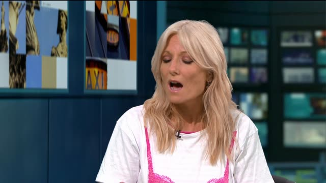 preparations underway for annual 'moonwalk' for breast cancer charity; england: london: gir: int helen townrow and gaby roslin live studio interview... - gaby roslin stock videos & royalty-free footage