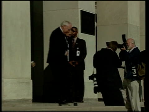 preparations/security lib ms plaque on building 'department of defense' ms side rumsfeld out of building with others pan ms rumsfeld chatting to... - department of defense stock videos and b-roll footage
