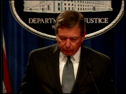 preparations/security; pool usa: washington: justice department: int john ashcroft press conference sot - information indicates that al-qaida cells... - attorney general stock videos & royalty-free footage