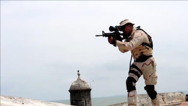 Preparativos de seguridad para la VI Cumbre de las Americas CLEAN Cartagena prepara seguridad on April 11 2012 in Cartagena Colombia