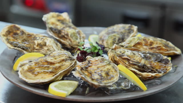 cu prepared oysters on plate / port de soller, mallorca, baleares, spain - oyster shell stock videos & royalty-free footage