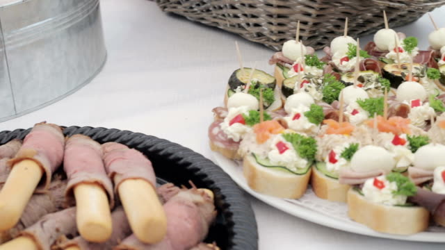 prepared snacks on table - sandwich stock videos & royalty-free footage