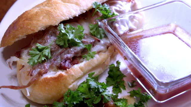 preparing a french dip - roast beef sandwich stock videos & royalty-free footage