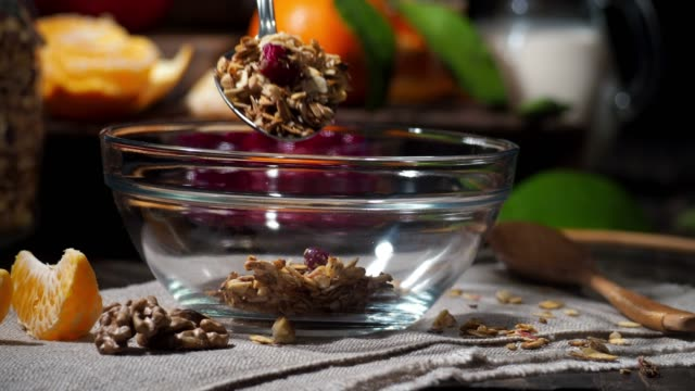 preparing a portion of granola - buttermilk stock videos & royalty-free footage
