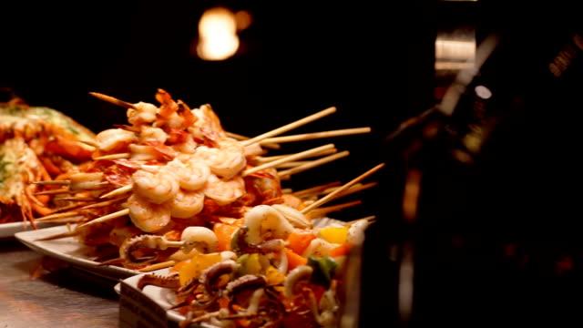 Förbereda BBQ seafood grill.