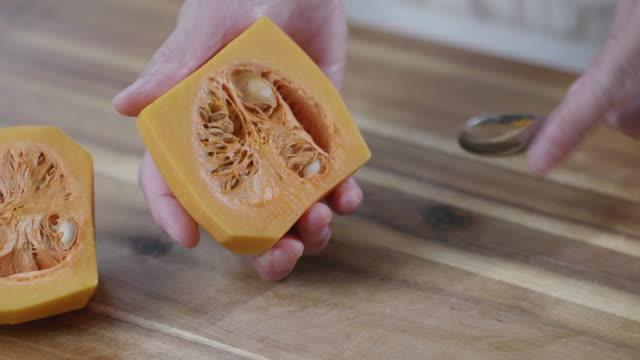 preparing butternut squash at home kitchen - pumpkin stock videos & royalty-free footage