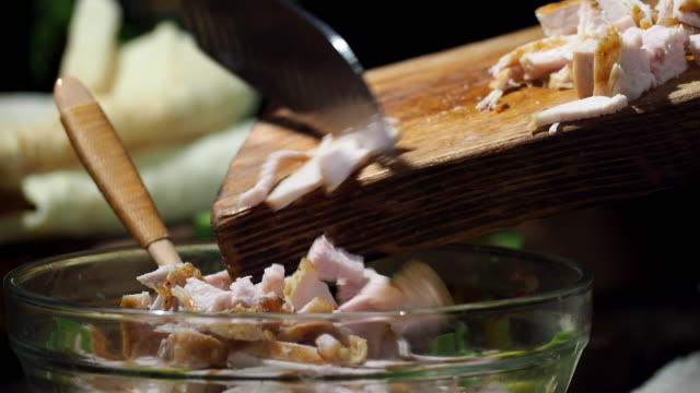 preparing chicken avocado wraps - pollo ai ferri video stock e b–roll