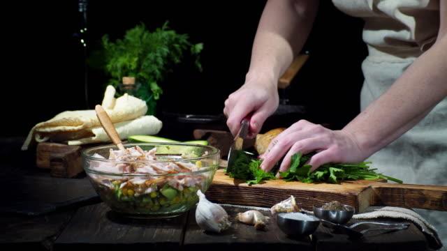 preparing chicken avocado wraps - cutting stock videos & royalty-free footage