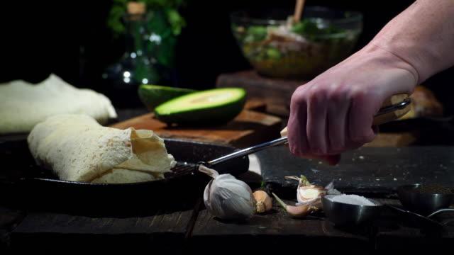 preparing chicken avocado wraps - avocado salad stock videos & royalty-free footage