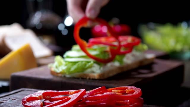 preparing chicken sandwich cake - red bell pepper stock videos & royalty-free footage